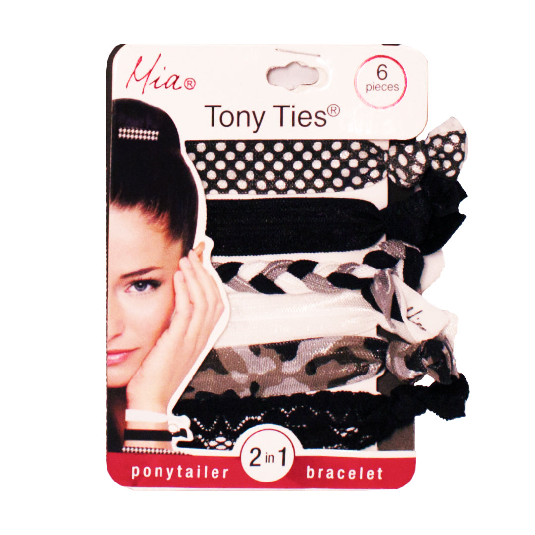 Mia® Tony Ties® knotted ribbon hair ties - black, camouflage braided, lace - 6 pieces in packaging - designed by #MiaKaminski founder of Mia® Beauty