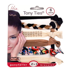 Mia® Tony Ties® knotted ribbon hair ties - beige, cream, black, floral, studs - 6 pieces in packaging - designed by #MiaKaminski founder of Mia® Beauty