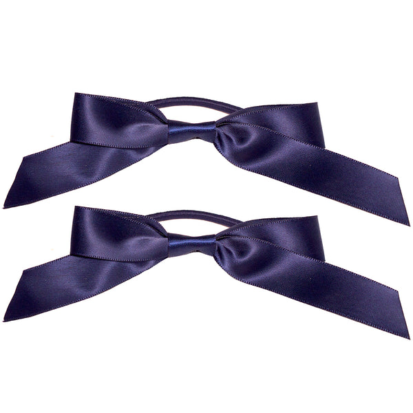 Satin Ribbon Bow Ponytailers-Navy Blue