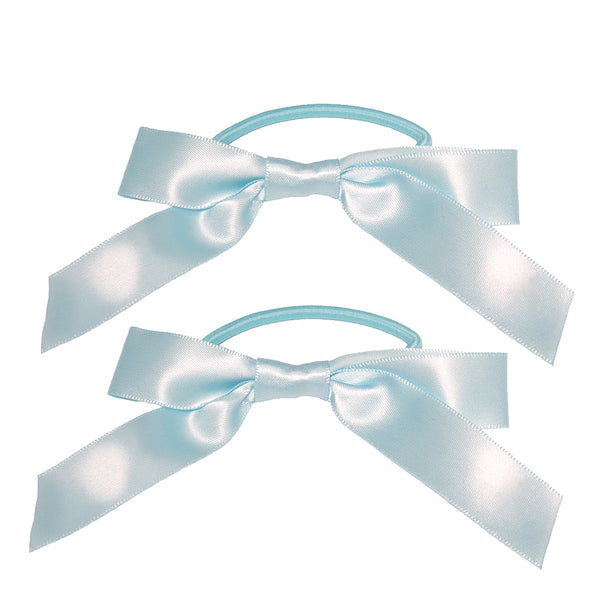 Satin Ribbon Bow Ponytailers - Light Blue