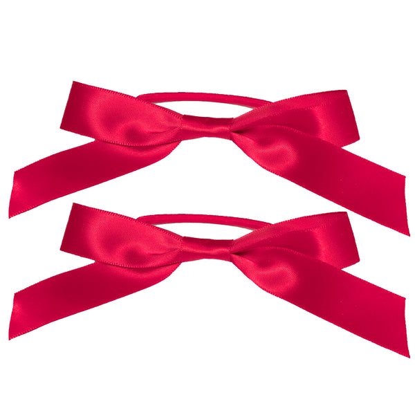 Satin Ribbon Bow Ponytailers - Maroon
