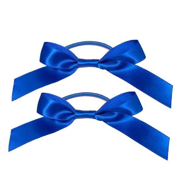Satin Ribbon Bow Ponytailers - Royal Blue