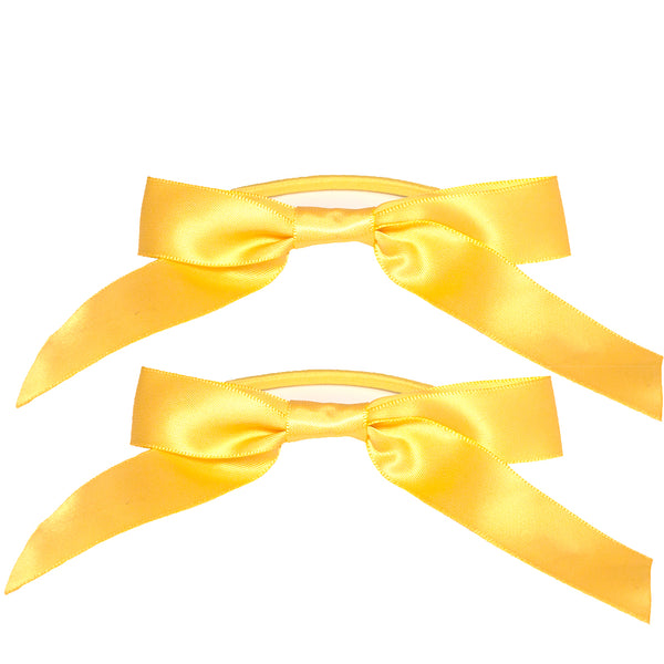 Satin Ribbon Bow Ponytailers - Yellow Gold