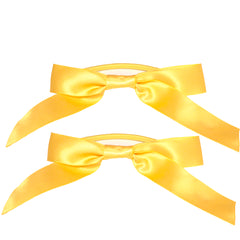 Mia® Spirit Satin Ribbon Bow Ponytailer Set - hair accessories - yellow gold color - designed by #MiaKaminski of Mia Beauty