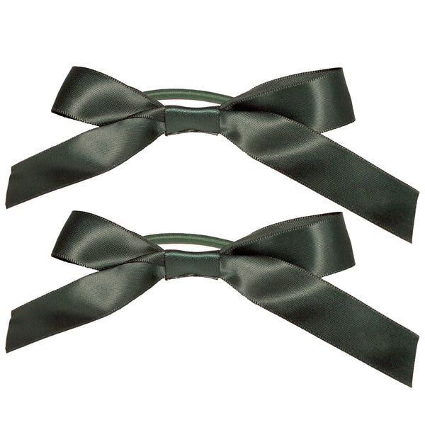 Satin Ribbon Bow Ponytailers - Dark Green