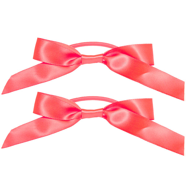 Satin Ribbon Bow Ponytailers - Neon Orange