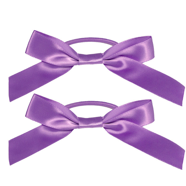 Satin Ribbon Bow Ponytailers - Purple