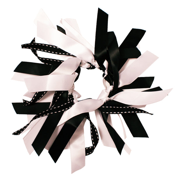 Mixed Ribbon Cluster Ponytailers-Black/White