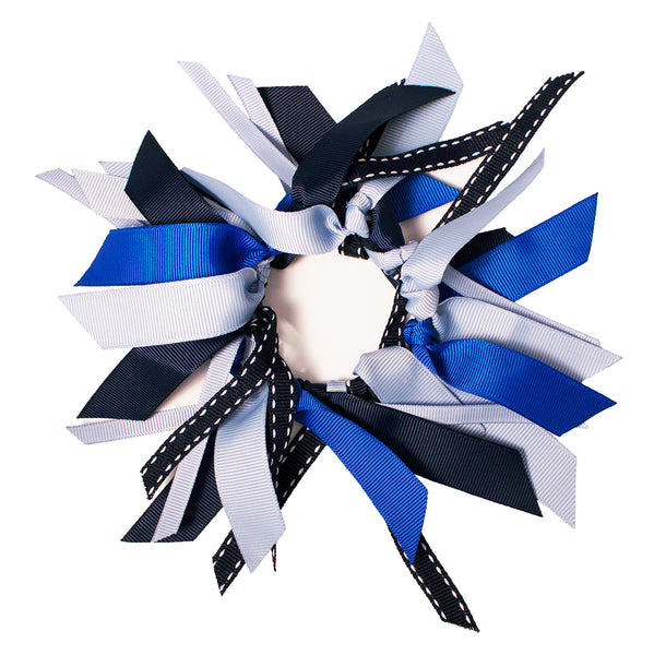 Ribbon Cluster Ponytailer - Navy, Royal + Light Blue