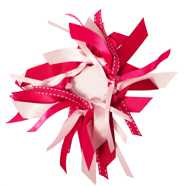 Mixed Ribbon Cluster Ponytailers-Hot Pink/Light Pink