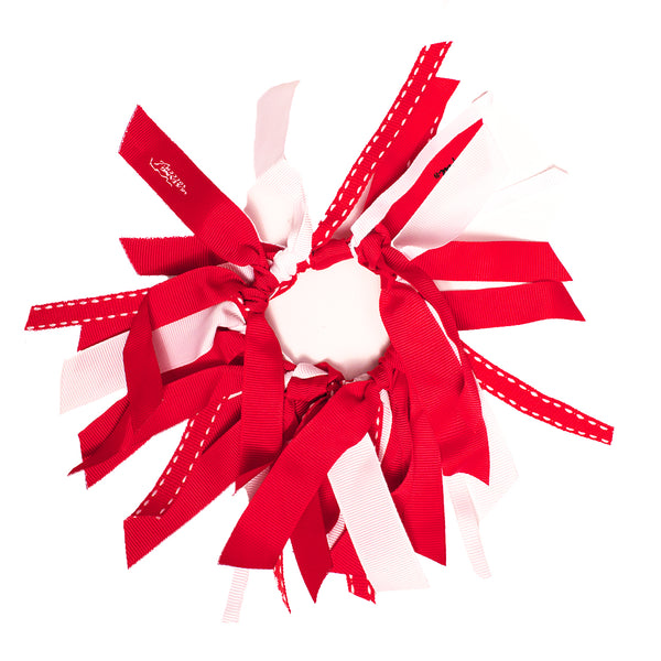 Ribbon Cluster Ponytailer - Red + White