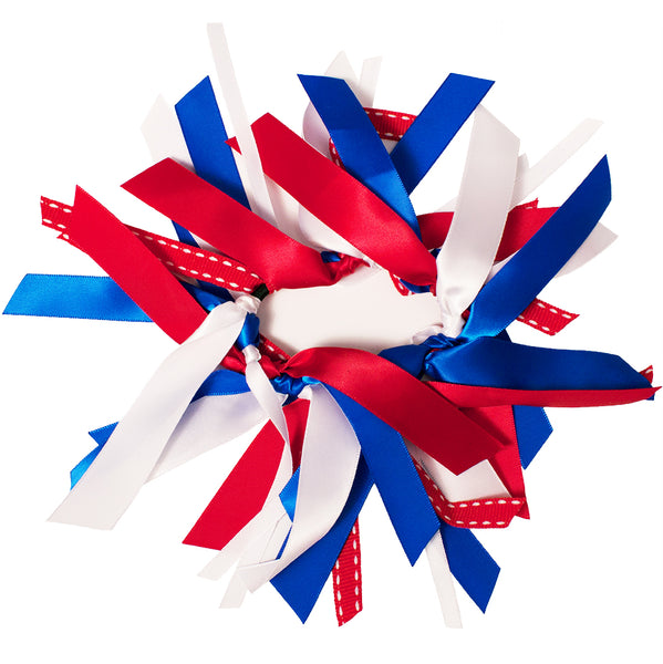 Mixed Ribbon Cluster Ponytailer - Red/White/Blue