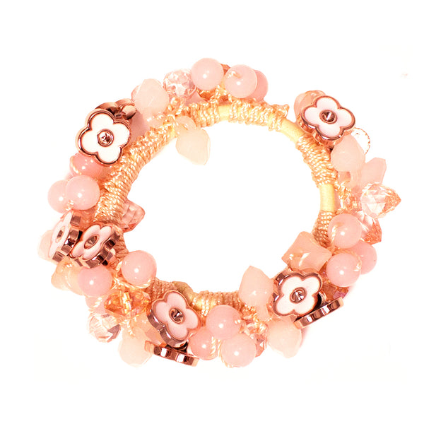 Beaded Ponytailer - Pink Crystals + Flowers