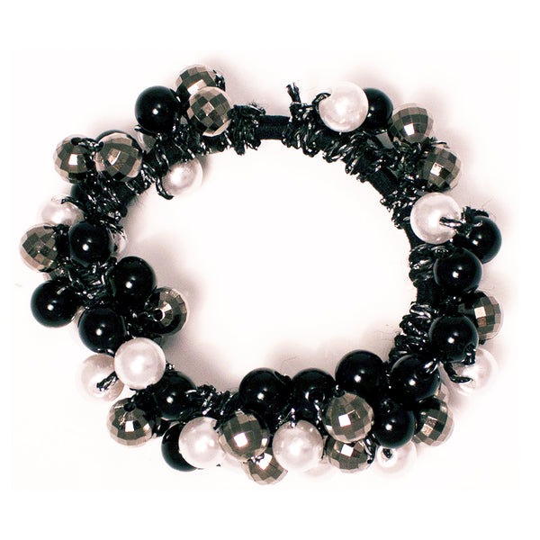 Beaded Ponytailer-Pearls/Metallic/Black Beads