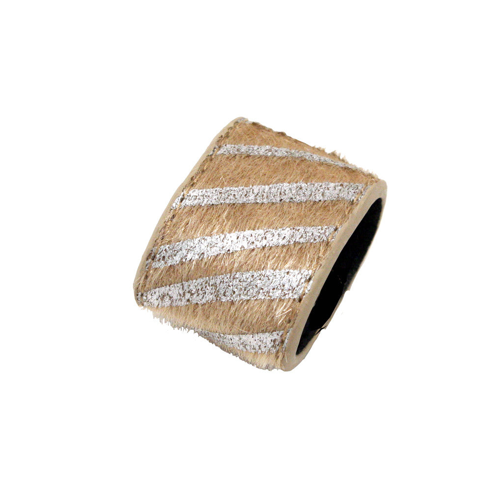 Mia®Tony Pony® - leather ponytail cuff - silver and beige - designed by #MiaKaminski CEO of Mia® Beauty