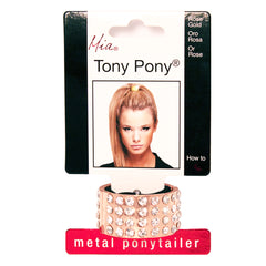 Mia® Tony Pony Ponytail Cuff - rose gold and clear rhinestones - shown on packaging - designed by #MiaKaminski of Mia Beauty