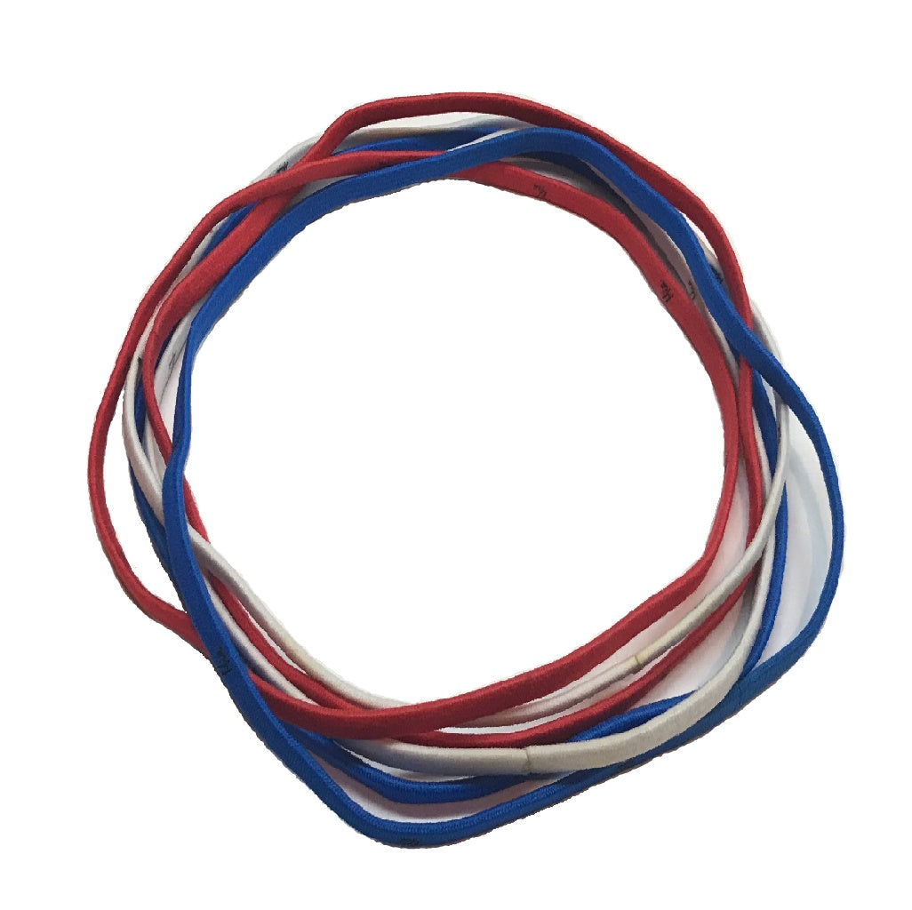 Mia® Thin Elastic Headbands - red, white and blue - 6 pieces shown - #miabeauty #mia #beauty #hairaccessories #headbands #yoga #soccer #sportsheadbands #lovethis #love #woman #4thofJulyhairaceesories