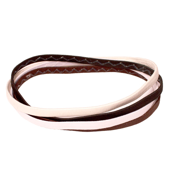 Thin Elastic Headbands - Black, Brown, Beige + White