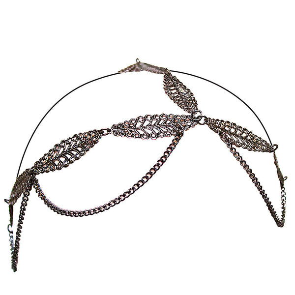 Three Chain Headwraps - Metal Leaves
