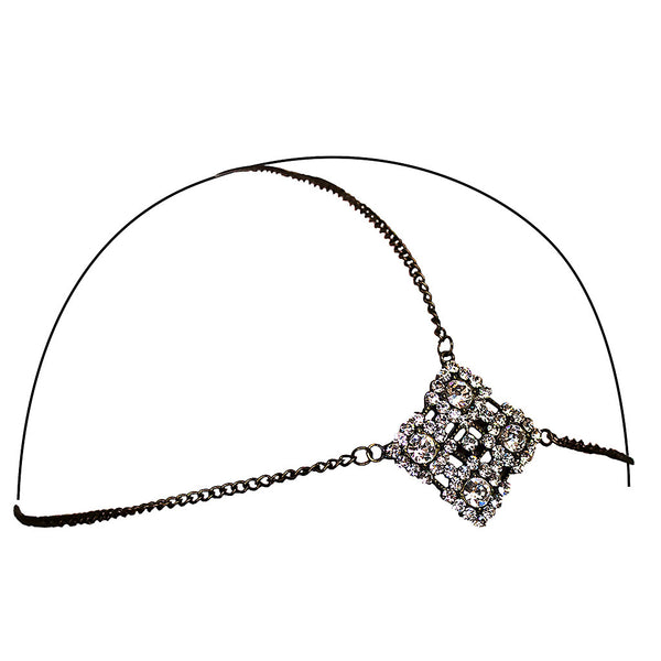 Three Chain Headwraps - Gunmetal, Clear Rhinestones