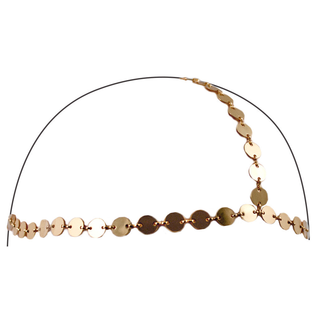 Triple Chain Headwraps - Gold Circle Discs - Mia Beauty