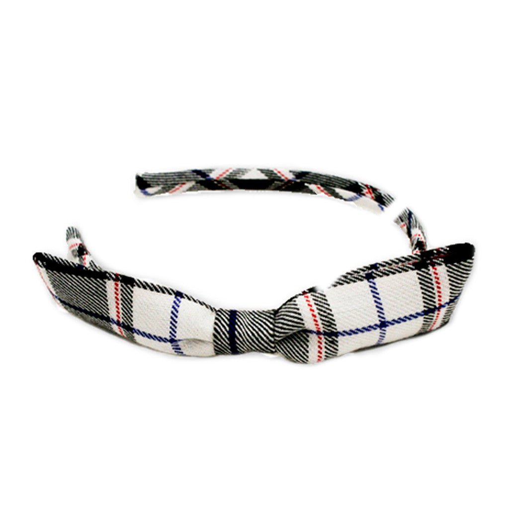 Black and White Plaid Bow Headband - MIA® Beauty