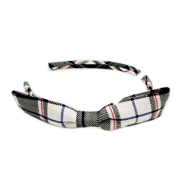 Plaid Headband with Bow - Black + White