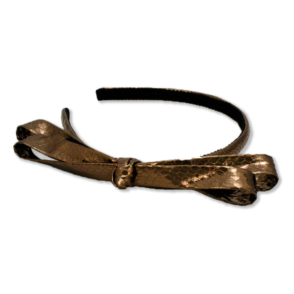 Faux Python Bow Headband - Bronze - MIA® Beauty