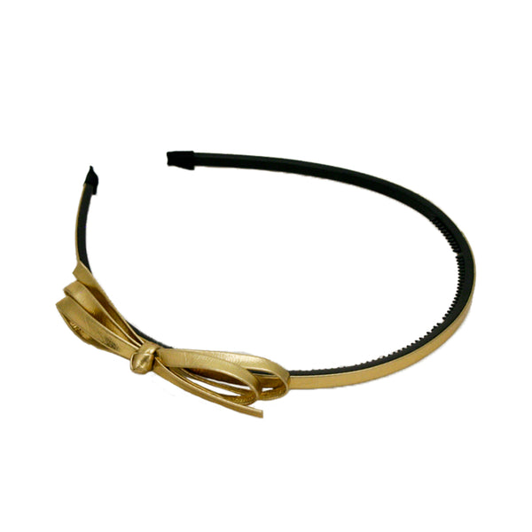 Metallic Leather Headband With Bow - Gold