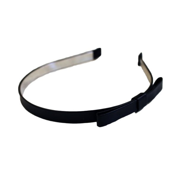 Headband - Black Leather With Bow