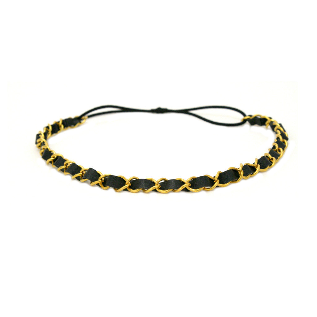 Mia® Leather Chain Headband - Black and gold chain - #MiaKaminski #Mia #MiaBeauty #Beauty #Hair #HairAccessories #headbands #headwraps #lovethis #love #life #woman #headbandchain #Chanel