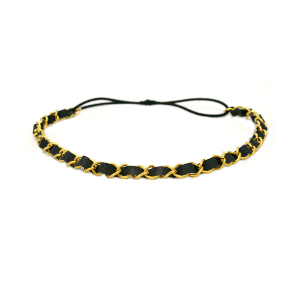 Leather Chain Headband - Black + Gold