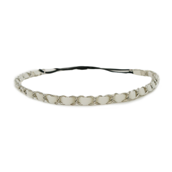 Leather Chain Headband - White + Silver