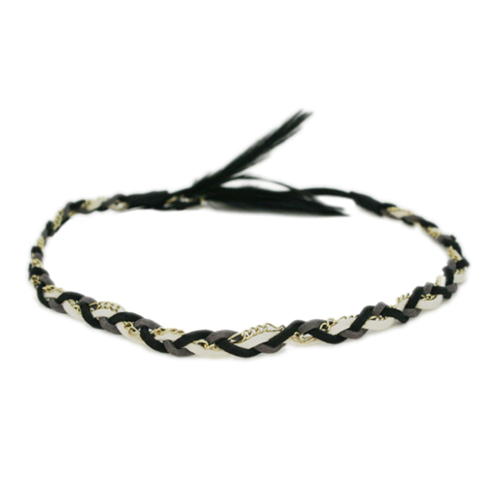 Mia® Braided Suede and Chain Headband with dangling feather - black + cream color – designed by #MiaKaminski of #MiaBeauty #Mia #Beauty #HairAccessories #headbands #chainheadbands #lovethis #bohemian #hippie
