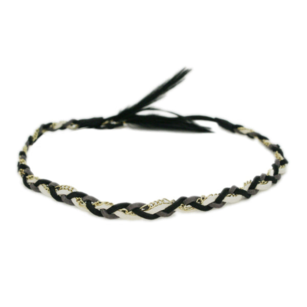 Braided Suede Headband with Feathers - Black