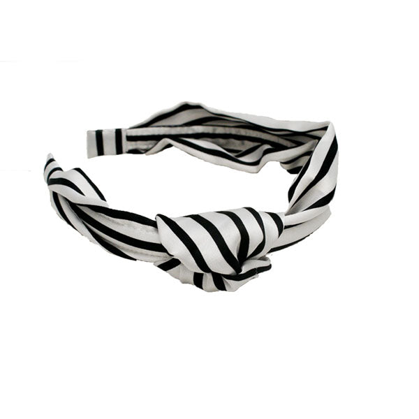 Black & White Silk Striped Headband with Knot