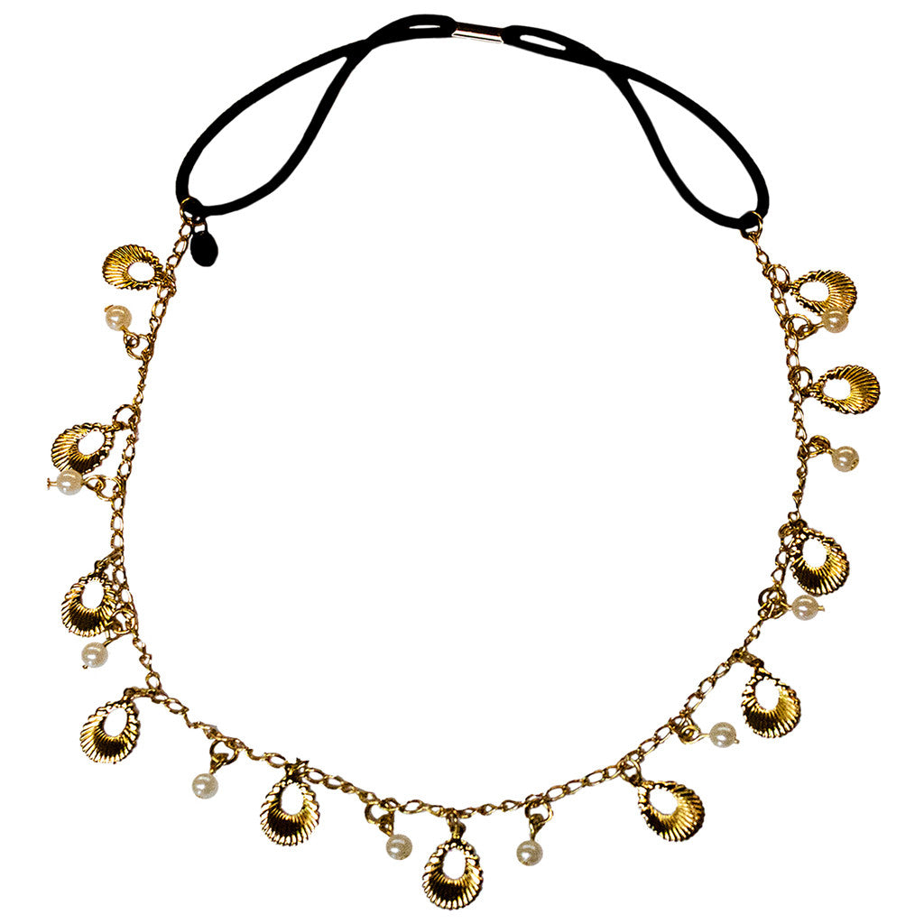 Metal Chain Headwraps - Gold Shell w/ Pearls - MIA® Beauty
