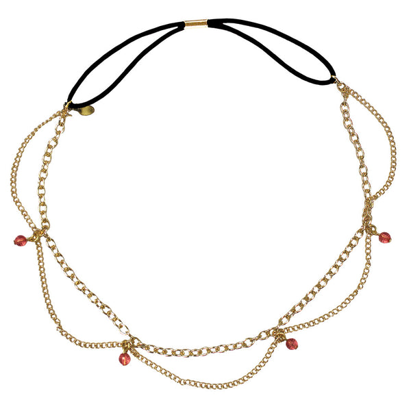 Metal Chain Headwraps - Gold Chain w/ Peach Stones