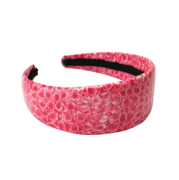 Faux Alligator Wide Headband - Pink