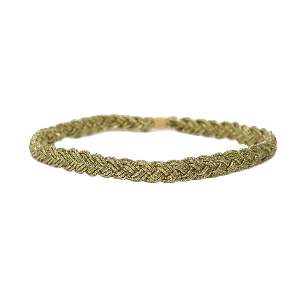 Gold Metallic Braided Headband - Mia Beauty