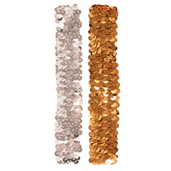 Sequin Headbands - Silver + Gold