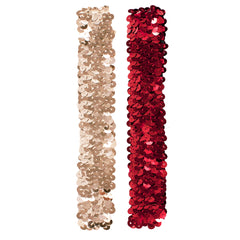 Mia® Spirit Sequin Headbands - silver and red color - by #MiaKaminski of Mia Beauty