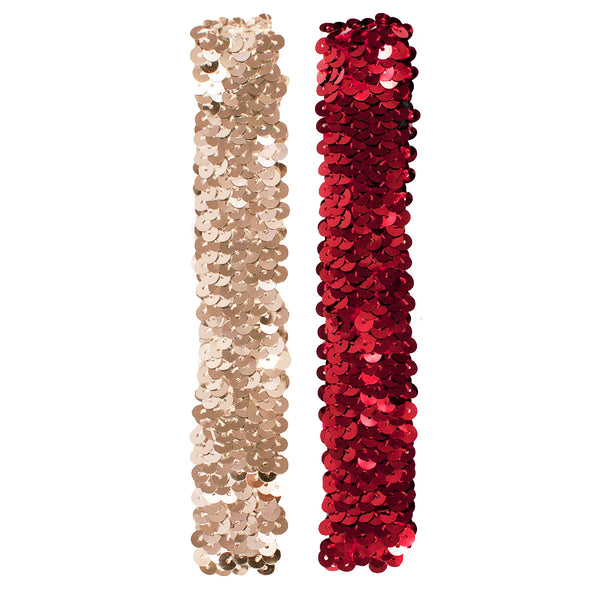 Sequin Headbands - Silver +Red