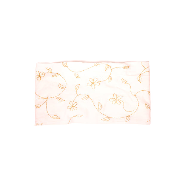 Cloth Headband - White + Metallic Gold Flowers