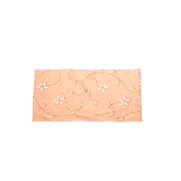 Cloth Headband - Beige + White Flowers + Metallic Gold Leaves