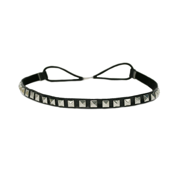 Leather Studded Headband - Black + Silver