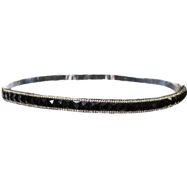 Embellished Headband - Black Square Rhinestones