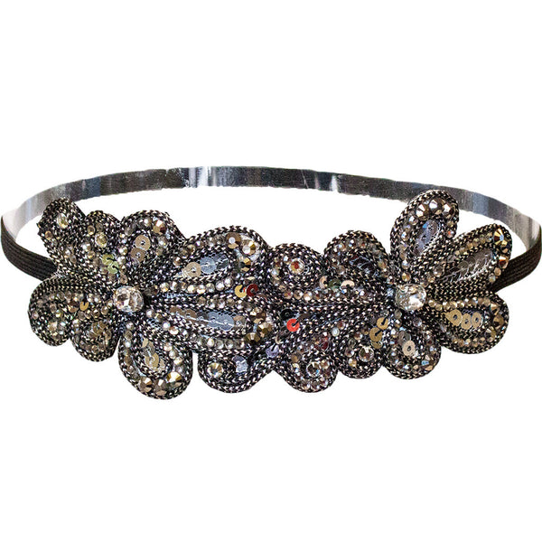 Embellished Headband - Gunmetal Sequins