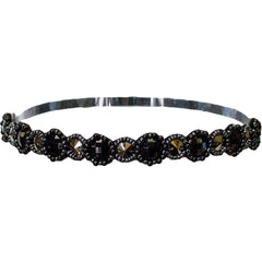Embellished Headband - Gunmetal Roundstones - Mia Beauty
