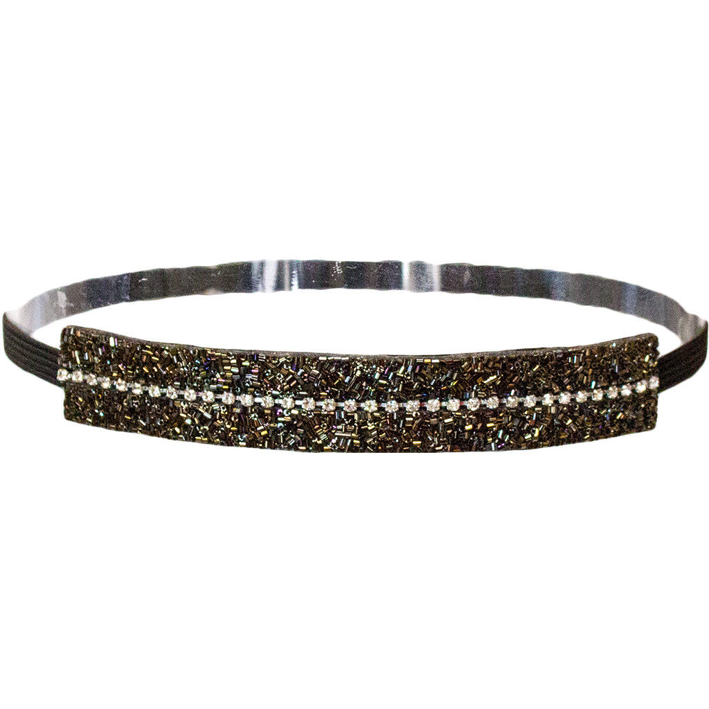 Mia® Embellished Headband - black and olive green beads and clear rhinestones - designed by #MiaKaminski of #Mia Beauty